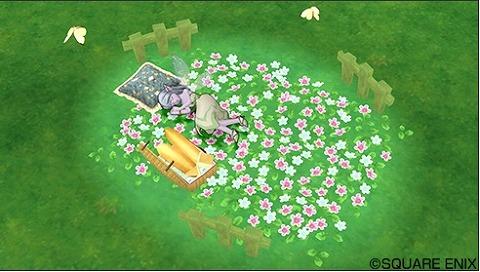 お花畑の庭用ベッド